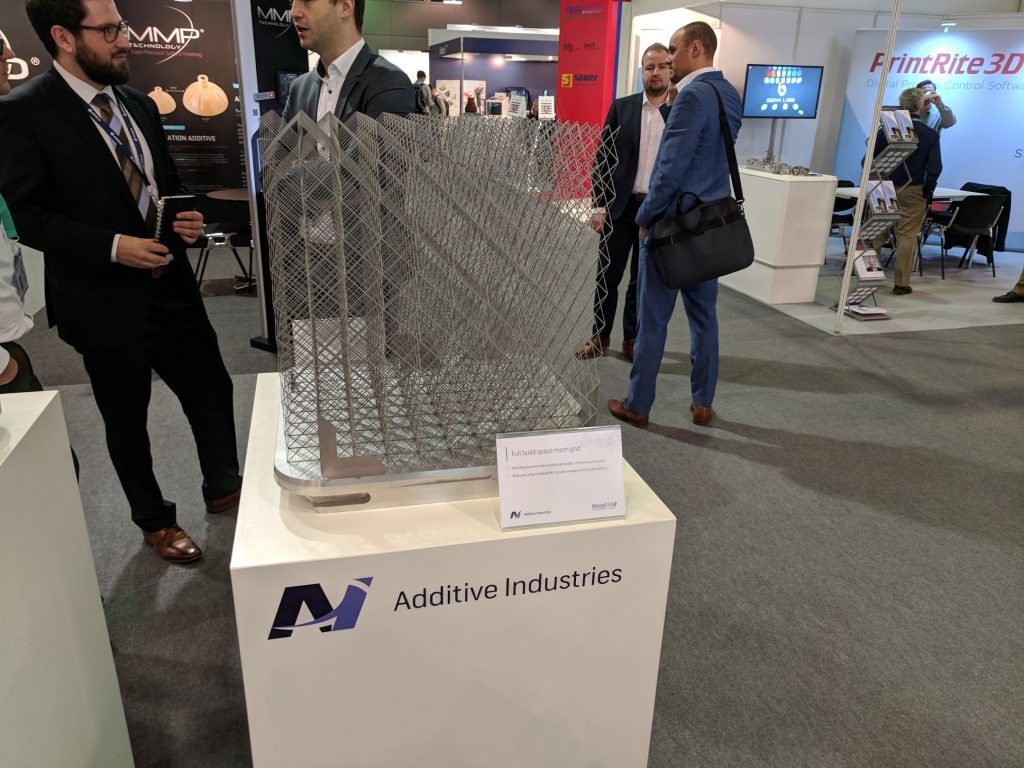 Additive Industries METALFAB1 full build space mesh gird. Photo by Michael Petch.