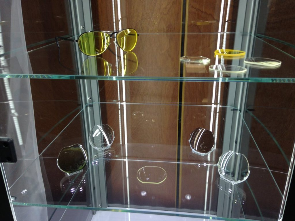 A range of Luxexcel's 3D printed corrective lenses. Photo via WFMY News