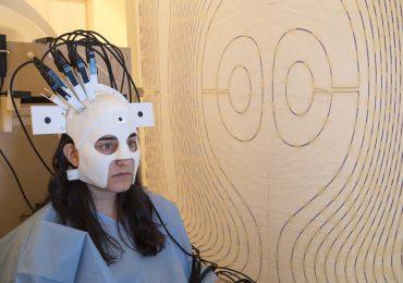 A 3D printed prototype MEG headcast device in use. Photo via the University of Nottingham