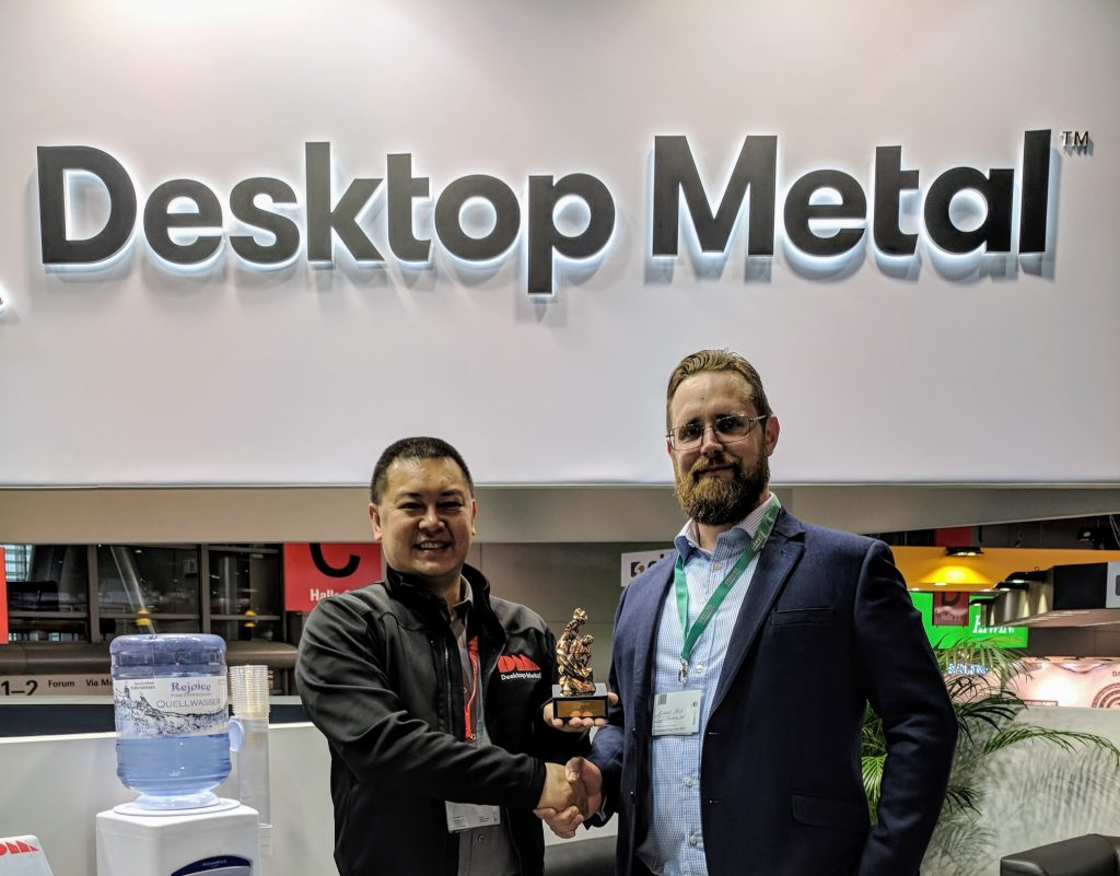 Desktop Metal's Tuan TranPham and 3D Printing Industry's Michael Petch at formnext 2017.
