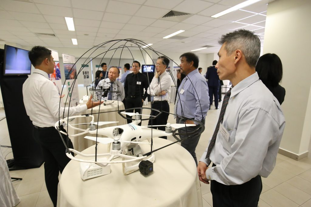 A drone on display at the Sembcorp Marine MOU signing. Photo via A*STAR