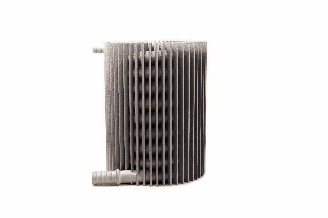 Heat exchanger 3D printed with Direct Metal Laser Sintering (DMLS).