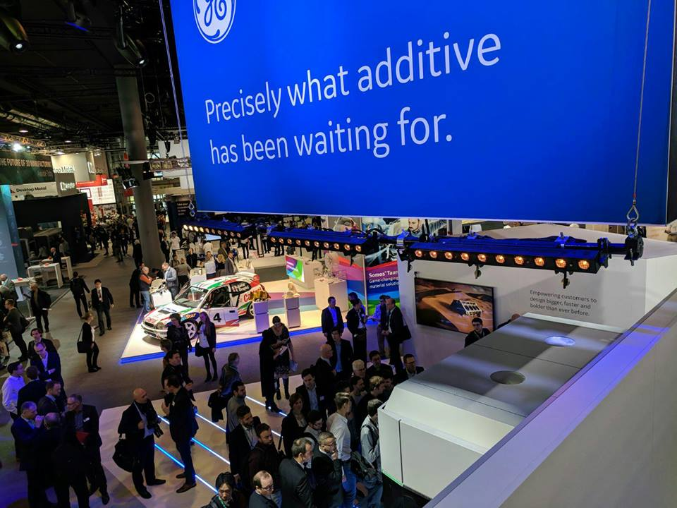The GE booth at formnext 2017. Photo via Michael Petch.