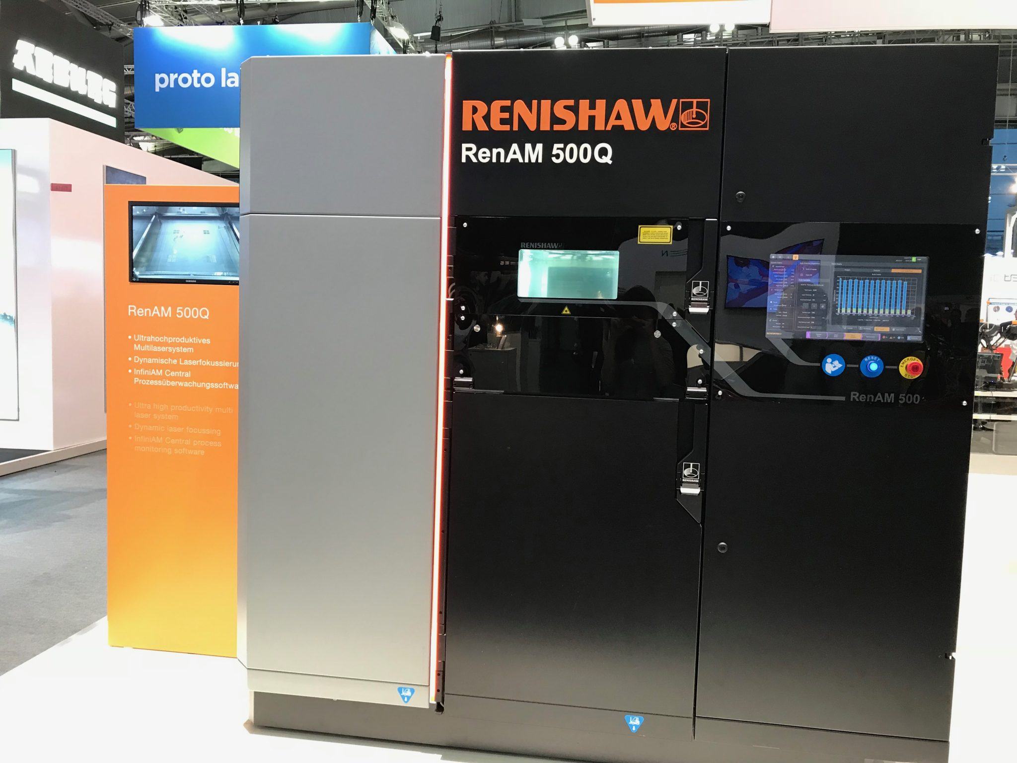 The RenAM 500Q stands on the corner of Renishaw's booth at formnext 2017. Photo by Beau Jackson for 3D Printing Industry