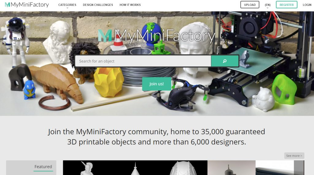 MyMiniFactorry offers around 35,000 guaranteed 3D printable models. Image via MyMiniFactory