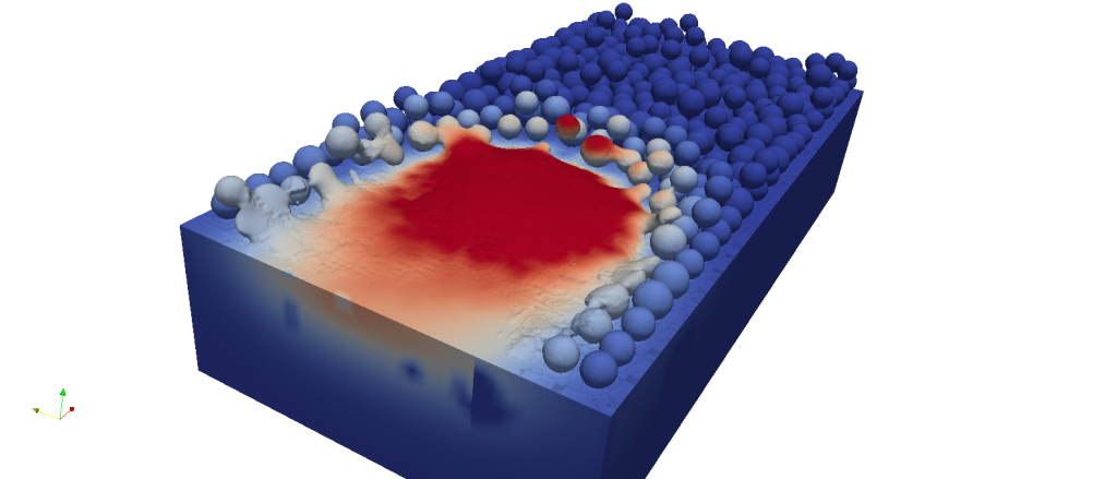 Simulation of an SLM meltpool in the Virfac platform. Image via GeonX