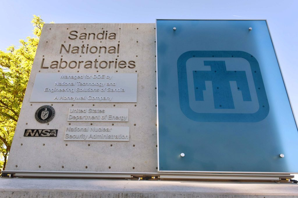 Sandia affiliations with the US Department of Energy and the US National Nuclear Security Administration. Photo via Randy Montoya/Sandia National Laboratory.