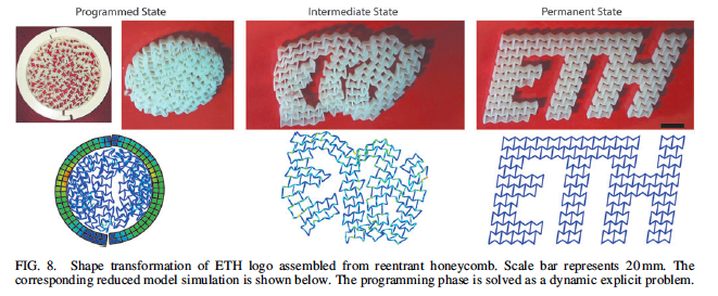 Shape transformation of the ETH logo. Although programmed into a circular state the reentrant honeycomb letters have shape memory, meaning that they will assume their permanent logo state when subject to a heat stimulus. Image via ETH Zurich.