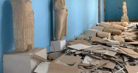 Damage to the Palmyra Museum inflicted by ISIS. Photo by SANA via AP.
