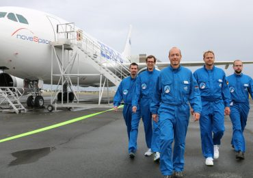 Prof. Jens Günster and his team suited and ready for parabolic flight experiments. Photo via: BAM, Section Corporate Communications