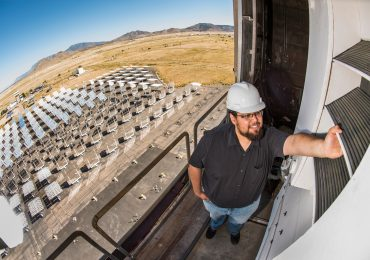 Sandia intern Jesus Ortega inspecting one of the new bladed receivers. Photo via Sandia/Randy Montoya.