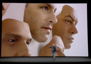 Schiller shows off the realistic test masks used to train Face ID. Photo via Apple.