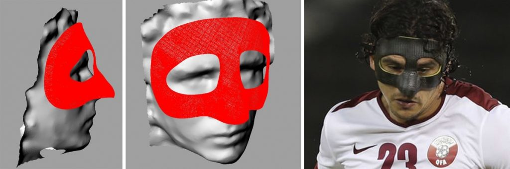 Soria's mask was digitally constructed using scans. Photo via Podoactiva.