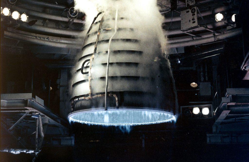 Hot test firing of an Aerojet Rocketdyne Space Shuttle Main Engine (SSME). Photo by Aaron Cunningham/NASA