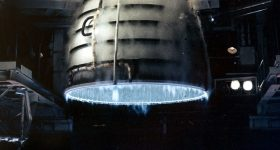 Hot test firing of an Aerojet Rocketdyne Space Shuttle Main Engine (SSME). Photo by Aaron Cunningham/NASA
