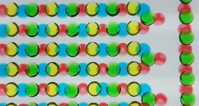 Multicolored hydrogel discs laid on top of one another create an electrical current. Photo by Thomas Schroeder