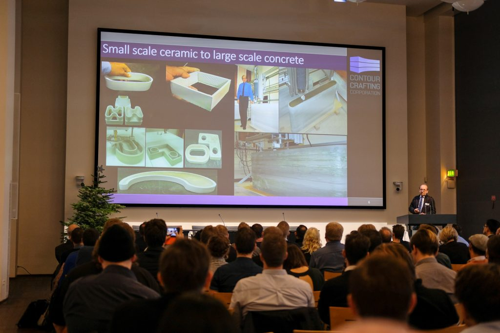Berok Khoshnevis of Contour Crafting speaking at the Copenhagen 3D construction printing conference.