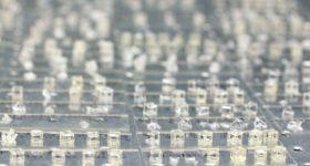 Small cube and pyramid skeletons made using volumetric 3D printing. Photo via LLNL