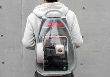 The MIGO 3D printing backpack mid print. Photo via MakeX.