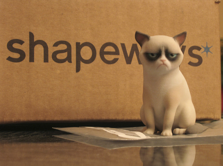 The Internet is not amused. 3D printed Grumpy Cat by Manuel Poehlau. Photo via Shapeways