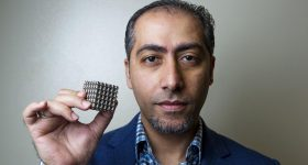 Dr Rashid Abu Al-Rub from Khalifa University with a gyroid structure. Photo by Christoper Pike/The National.