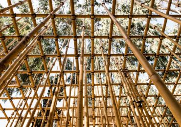 The Bamboo pavilion, held together by 3D printed joints. Photo by Barak Pelman.