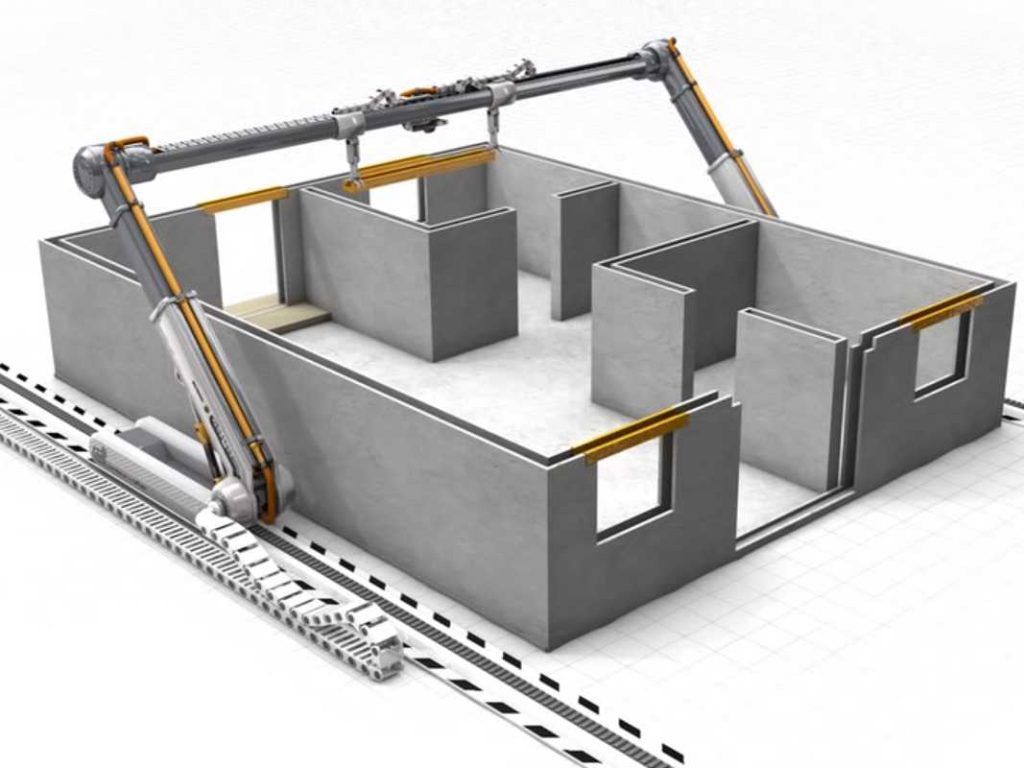 Contour Crafting's 3D printing for construction model.