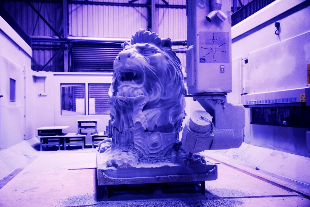 Fluxaxis Lions being machined.