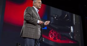 Carbon co-founder and CEO Joe DeSimone presenting CLIP 3D printing in an introductory TED Talk. Photo by Bret Hartman/TED