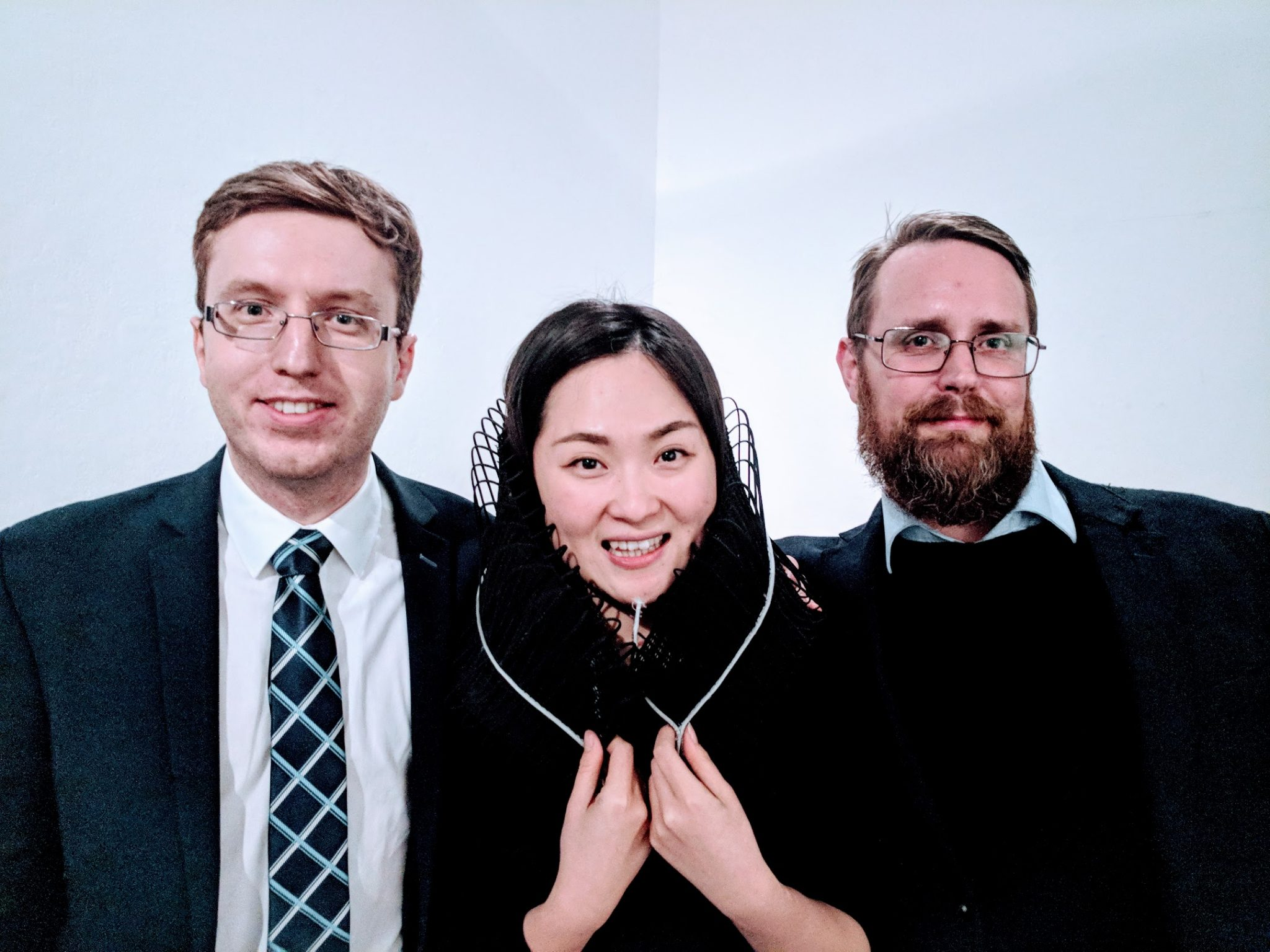 Konrad Głowacki, Sinterit co-founder, Mingjing Lin and Michael Petch at the RCA.