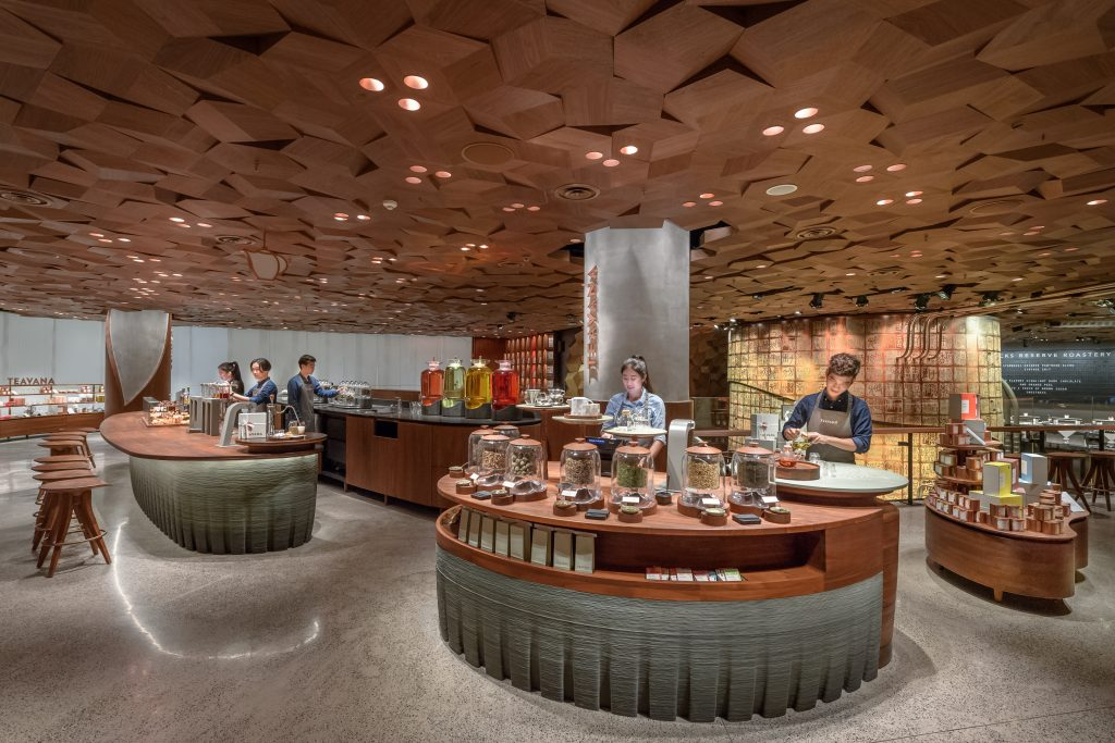 Counters with green-grey 3D printed bases in Starbucks Reserve Roastery Shanghai. Photo via Starbucks