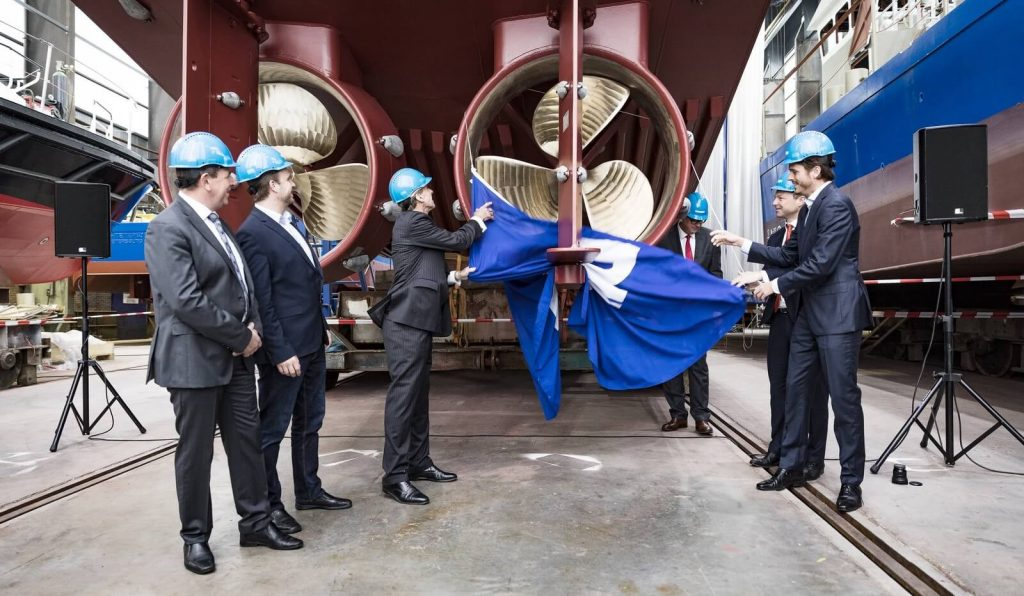RamLab's 3D printed WAAMpeller unveiled at Damen Shipyards. Photo via Damen