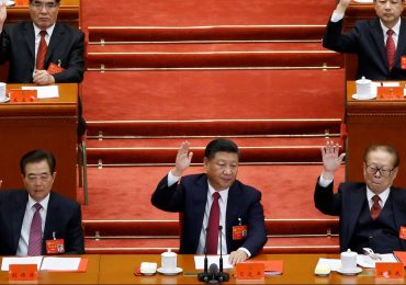 Chinese Premier Xi Jinping ahead of his Communist Party. Photo by Thomas Peter/Reuters