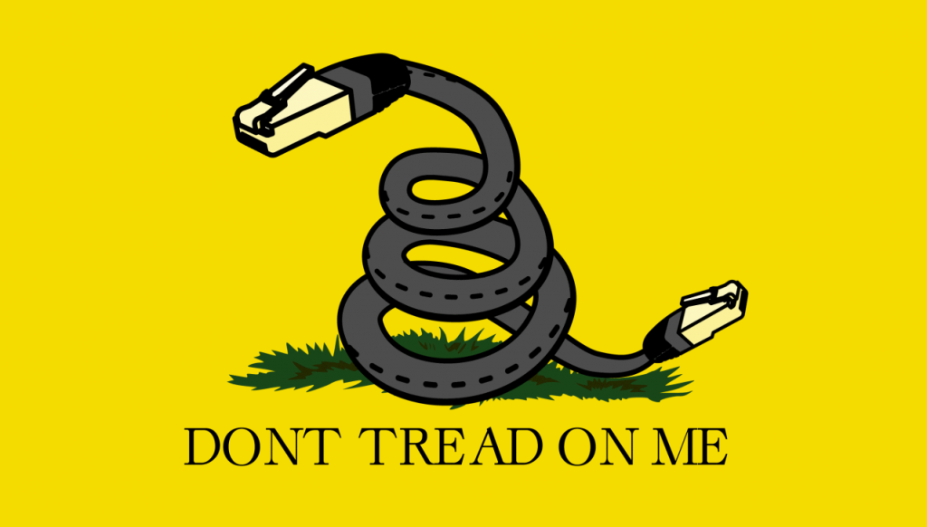 The Gadsden Flag reimagined for the debate around net neutrality. Image via TechCrunch