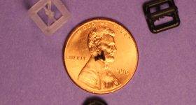 3D printed bone implants from the University of Maryland School of Medicine with penny for scale. Photo via RSNA