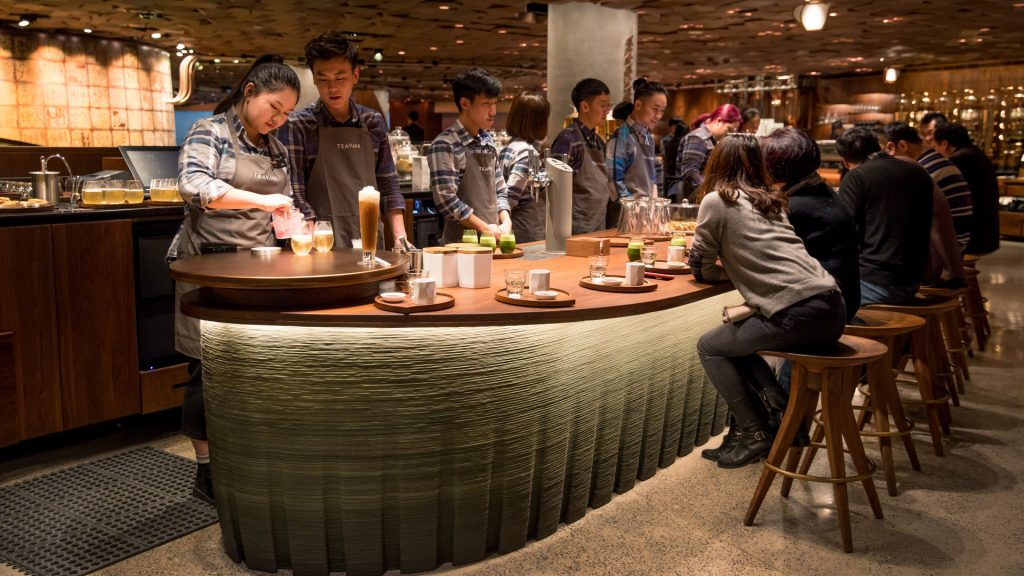 The 3D printed Teavana Bar at Starbucks Reserve Roastery Shanghai. Photo via Starbucks