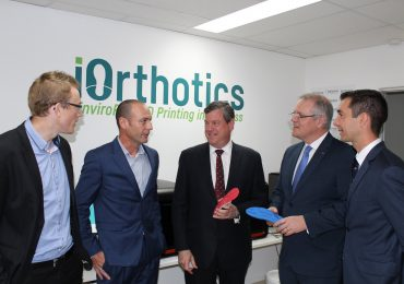 iOrthotics team and Australian politicians at launch of 3D printed EnviroPoly insoles.