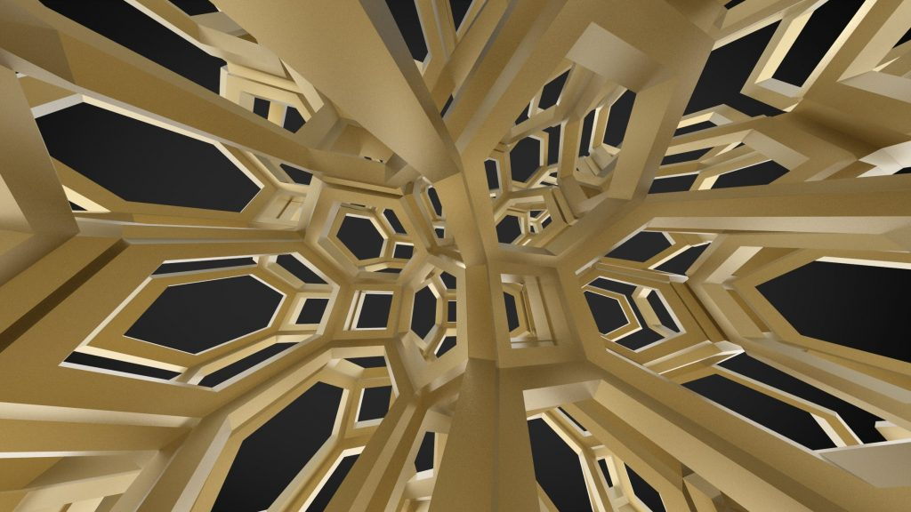 Render of a self-folding origami lattice devised at TU Delft. Image via TU Delft.