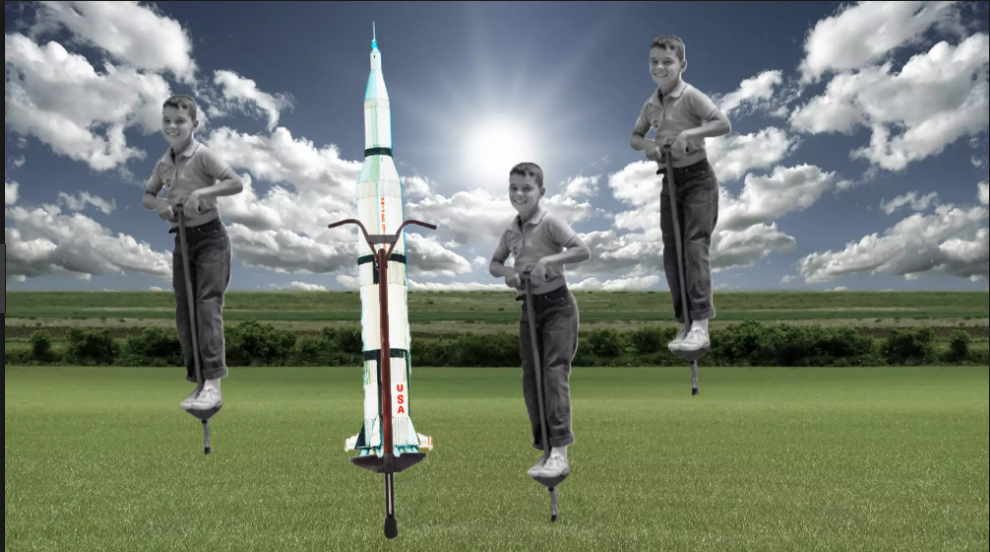 How is a rocket like a pogo stick? Image via Vintage Space on YouTube