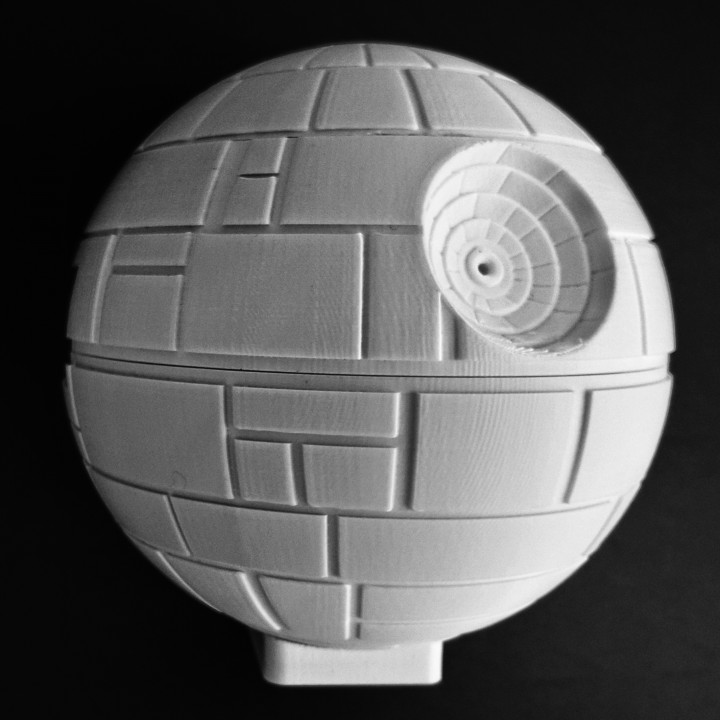 The Death Star without paint, but on a stand to support a Raspberry Pi 3 computer. Photo by Darren Furniss.