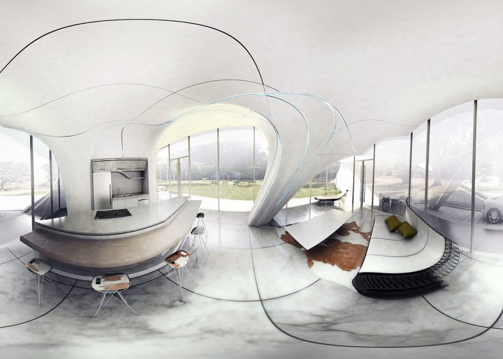 Wide angle view inside the Curve Appeal house. Image via WATG Urban