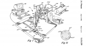 A drawing from Scott Crump's patent US5121329-1.