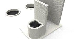 Hamilton Labs' 3D printed toilet design. Image via Hamilton Labs