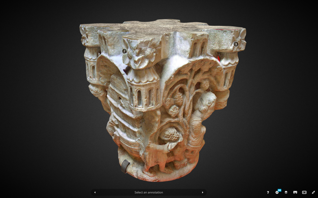 The Capitel de Noé. An example 3D scan of a heritage object. Image via Sketchfab.
