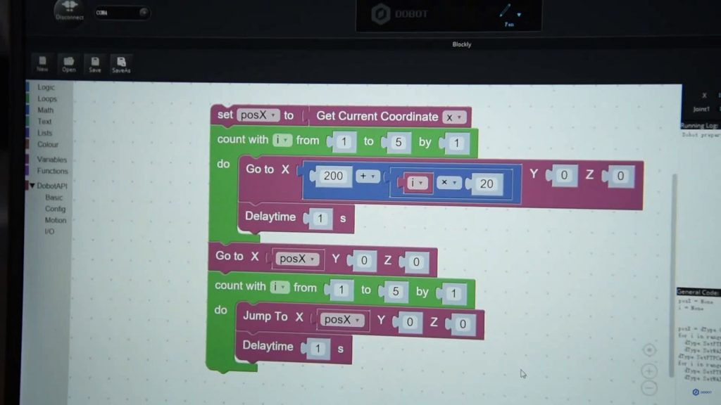 DOBOT Magician programming using Blockly. Image via DOBOT on YouTube