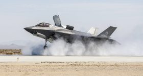 Moog's aircraft portfolio includes work on the Lockheed Martin F-35 Lightning II stealth fighter jet, pictured here successfully landing in a crosswind test. Photo by Tom Reynolds/Lockheed Martin