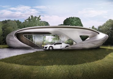Concept drawing of the WATG Curve Appeal 3D printed house. Image via WATG Urban