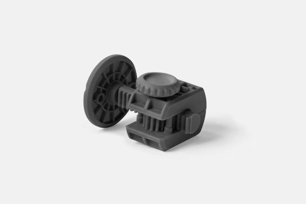 Rack and pinion 3D printed in Formlabs Grey Pro. Photo via Formlabs