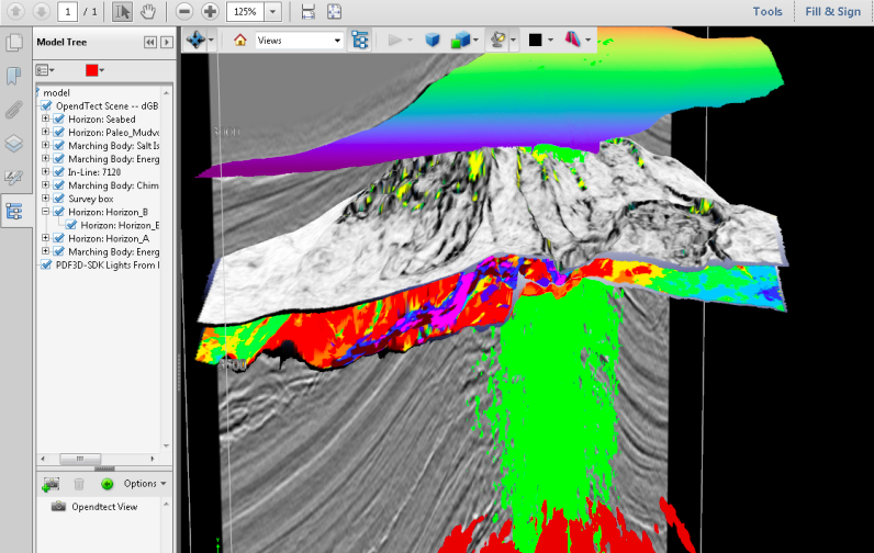 Geological 3D modelling on SDK 3D Pro. Image via PDF3D.