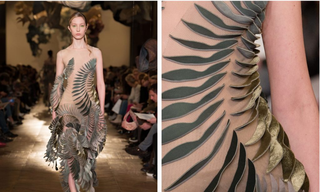 Foliage 3D printed embellishments in the Ludi Nature collection. Photos via Iris van Herpen